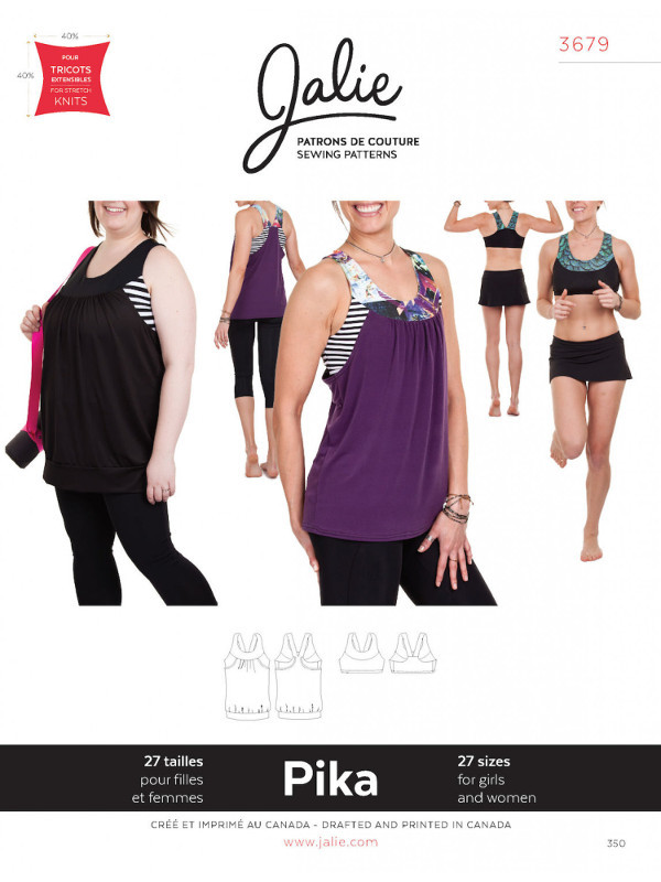 Pika Sport Bra & Layered Blouson Tank Pattern - Jalie Patterns