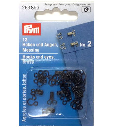 Prym Hooks And Eyes Brass Size 2 Black Colour