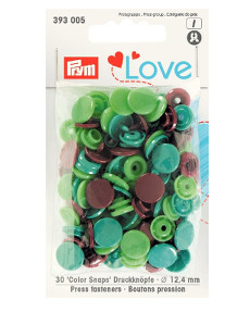 Prym Green / Light Green / Brown Non-sew Colour Snaps - 12.4mm 30 Pieces