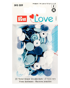 Prym Blue / White / Light Blue Non-sew Colour Snaps - 12.4mm 30 Pieces