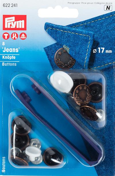 Prym 8-Piece 17 mm Brass Laurel Wreath Jeans Buttons Antique Copper
