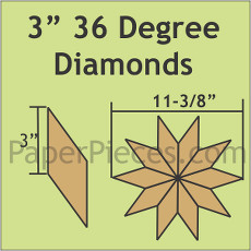 3 Inch 36 Degree Diamonds 40 Pieces - Paper Piecing