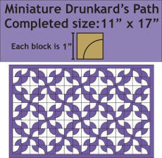 Miniature Drunkards Path Wall Hanging - 11 Inch X 17 Inch - Pattern Plus Paper Pieces