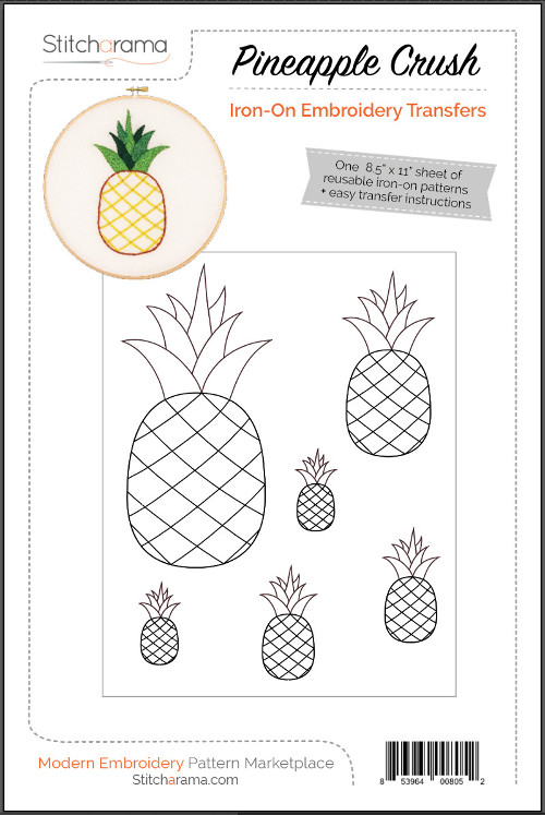 Pineapple Iron-On Embroidery Transfers