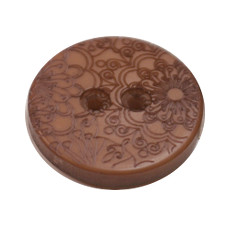 Acrylic Button 2 Hole Engraved 28mm Light Brown