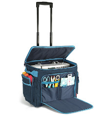 Prym Sewing Machine Trolley Denim Telescopic Handle and Castors 44cm x 22cm x 36cm