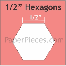1/2in Hexagons Small Pack 125 Pieces - Paper Piecing
