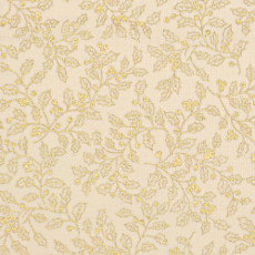 Christmas 140cm Wide/metre - Gold Holly On Cream - 929
