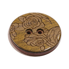 Acrylic Button 2 Hole Engraved 18mm Bronze