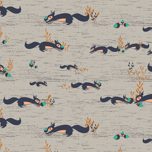 Squirrels At Play Forester in Cotton from Little Forester Fusion designed by AGF Studio