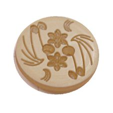 Acrylic Button 2 Hole Engraved 14mm Beige