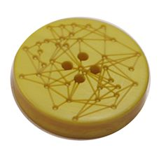 Acrylic Button 4 Hole Engraved 23mm Yellow