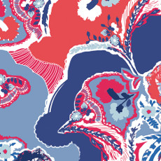 In Blue Interplay Eclectic - Art Gallery Fabric 44in/45in Per Metre