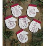 Redwork Mittens - Felt Ornament Kits -6