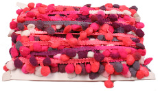 Rose, White, Grey & Fuchsia Mulicolour Pom Pom Trim - 24mm X 20m
