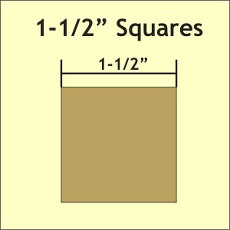 1 - 1/2in Squares Small Pack 70 Complete Pieces - Paper Pieces