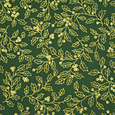 Christmas 140cm Wide/metre - Gold Holly On Green - 931