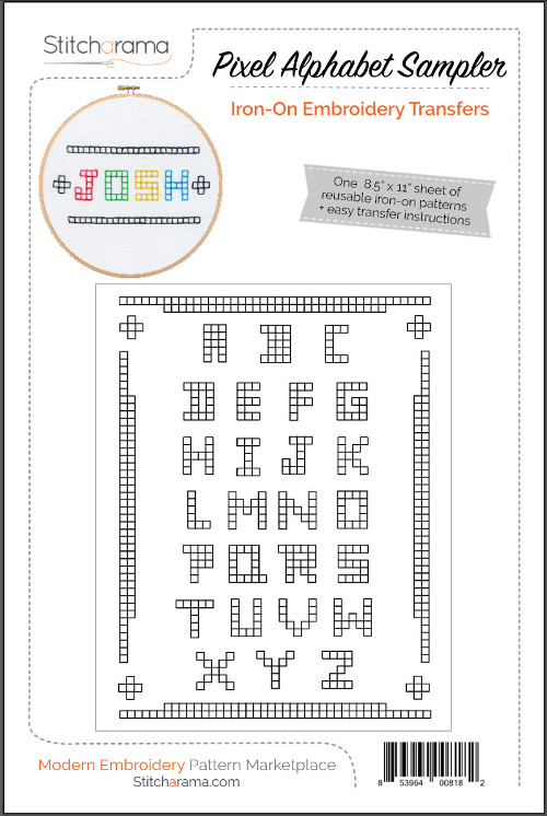 Pixel Alphabet Sampler Iron-On Embroidery Transfers