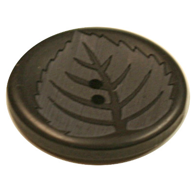 Acrylic Button 2 Hole Leaf Engraved 28mm Chocolate