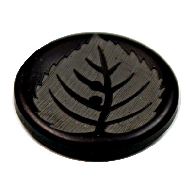 Acrylic Button 2 Hole Leaf Engraved 28mm Black