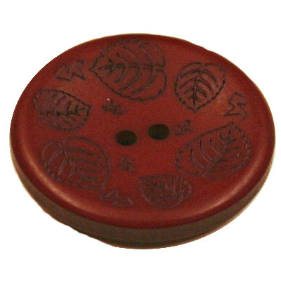 Acrylic Button 2 Hole Mini Leaves Engraved 28mm Oxblood