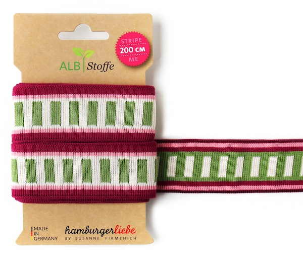 Stripe ME Icon Wine/Olive Trim from Wanderlust by Hamburger Liebe for Albstoffe