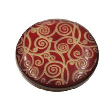 Acrylic Shank Button Gold Embossed 23mm Burgundy