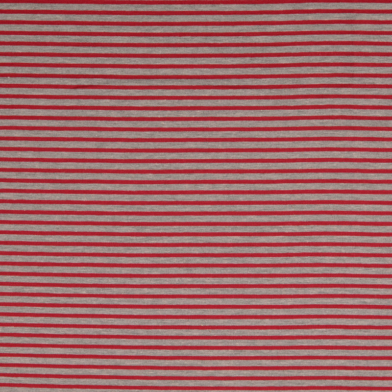 Nantes Heathered Grey and Wine Striped Knit Fabric