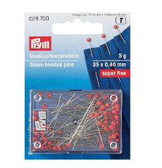 Prym Glass Headed Pins - Red - 35 x 0.40 mm