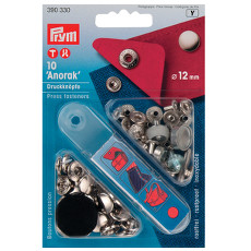 Prym Non-sew Press Fasteners 12mm Brass Silver Coloured - 10 Pieces