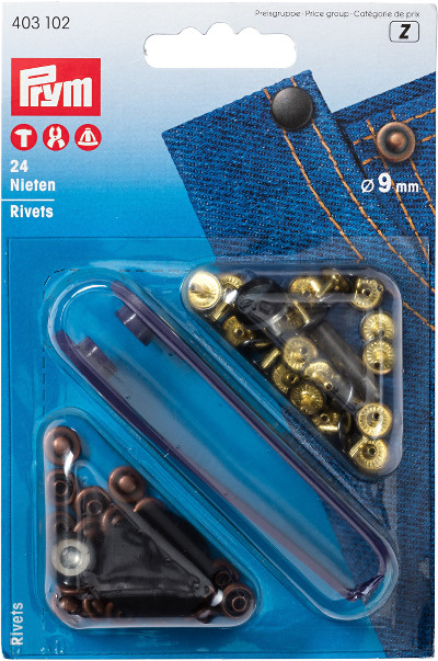 Prym Rivets 9mm Antique Copper/Black Oxidized - 24 Pieces