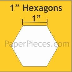 1in Hexagons Small Pack 100 Pieces - Paper Piecing