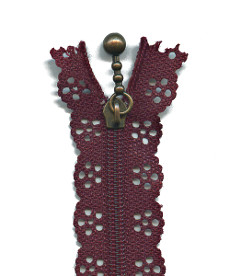 Lace Zip 20cm Length - Burgundy