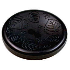 Acrylic Button 2 Hole Mini Leaves Engraved 28mm Navy