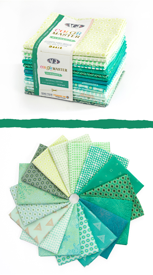 Color Master Elements Waterfall Edition 16 Pieces Fat Quarter Bundle