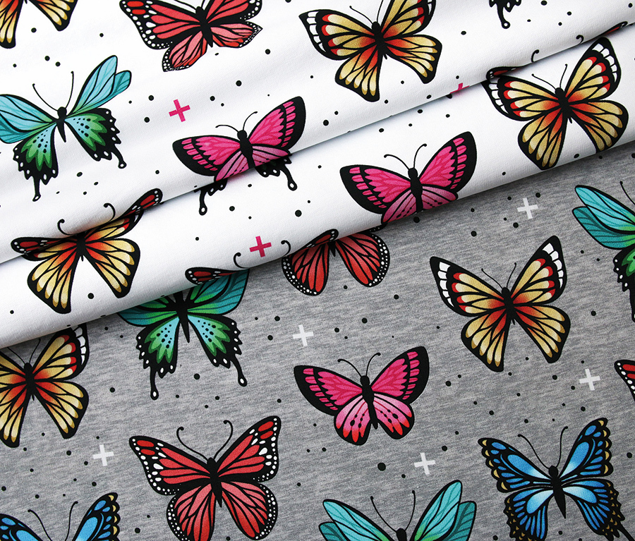 Butterfly Multi/White Loopback Sweatshirt Fabric From Wanderlust by Hamburger Liebe for Albstoffe