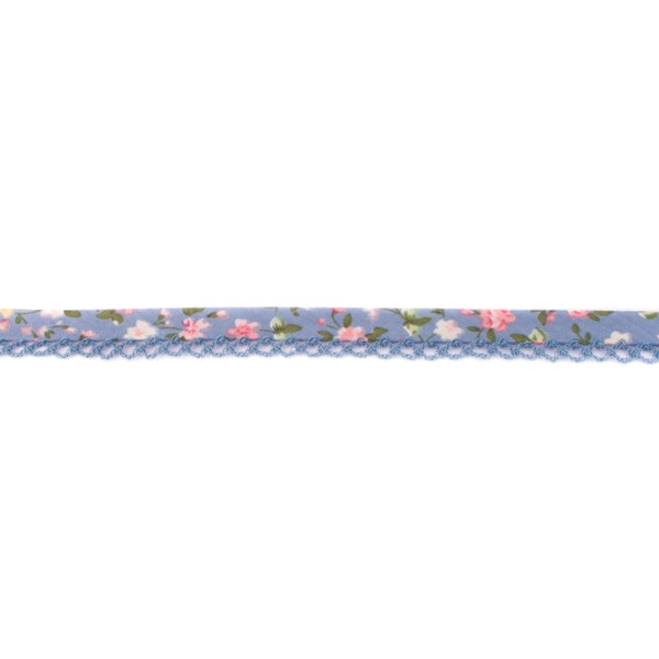 Grey Pink Floral Crochet-edged Poplin Bias Binding Double Fold - 15mm X 25m