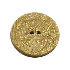 Acrylic Button 2 Hole Metallic 38mm Yellow / Gold