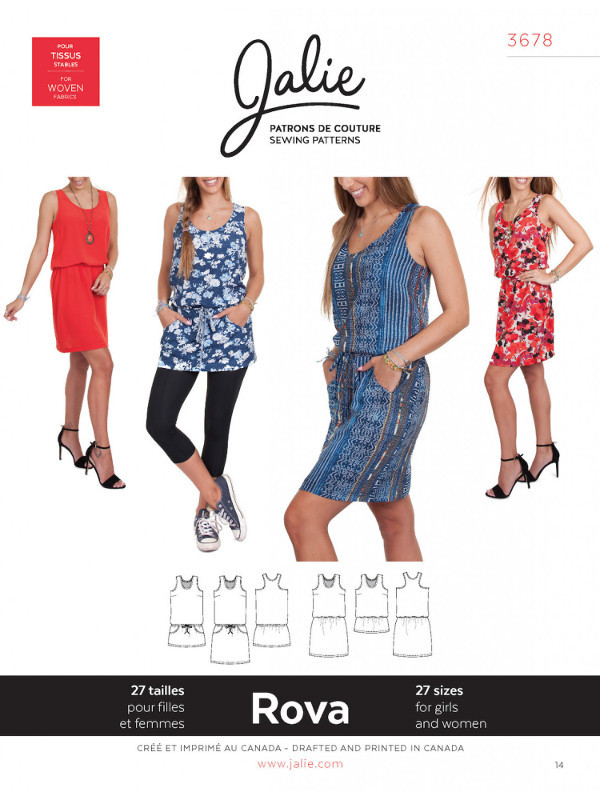 Rova Blouson Tank Dress & Tunic Pattern - Jalie Patterns