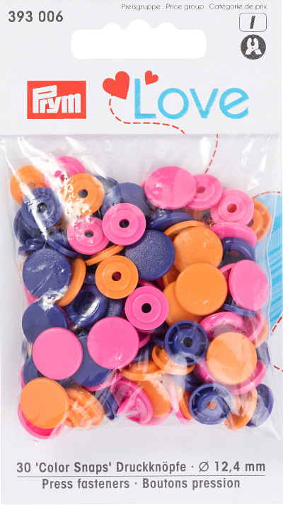 Prym Orange / Pink / Purple Non-sew Colour Snaps - 12.4mm 30 Pieces