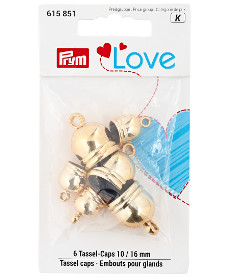 Prym Love Tassel Caps 3 x 10mm 3 x 16mm Gold Colour