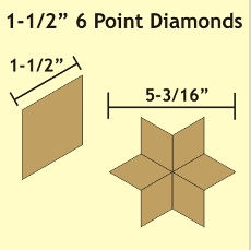 1-1/2in 6 Point Diamond Small Pack 75 Pieces - Paper Piecing