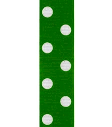 Spot Print Ribbon 7/8in 20mm Emerald/white 50yds / 46m