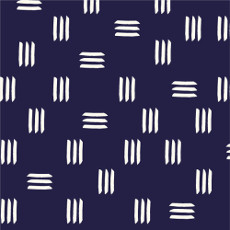 Lines & Shapes Dashes Indigo Blue - Cloud 9 Canvas Fabric 44in/45in Per Metre
