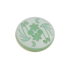 Acrylic Button 2 Hole Engraved 14mm Aqua