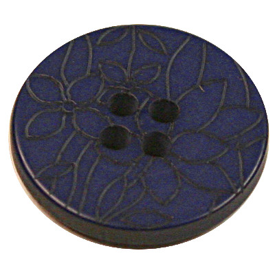 Acrylic Button 4 Hole Flower Engraved 20mm Cobalt Blue
