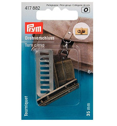 Prym Turn Clasp 35 X 17mm Antique Brass Brushed