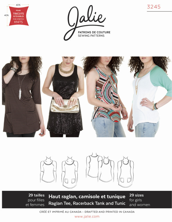 Raglan Top, Racerback Tank And Tunics Pattern - Jalie Patterns