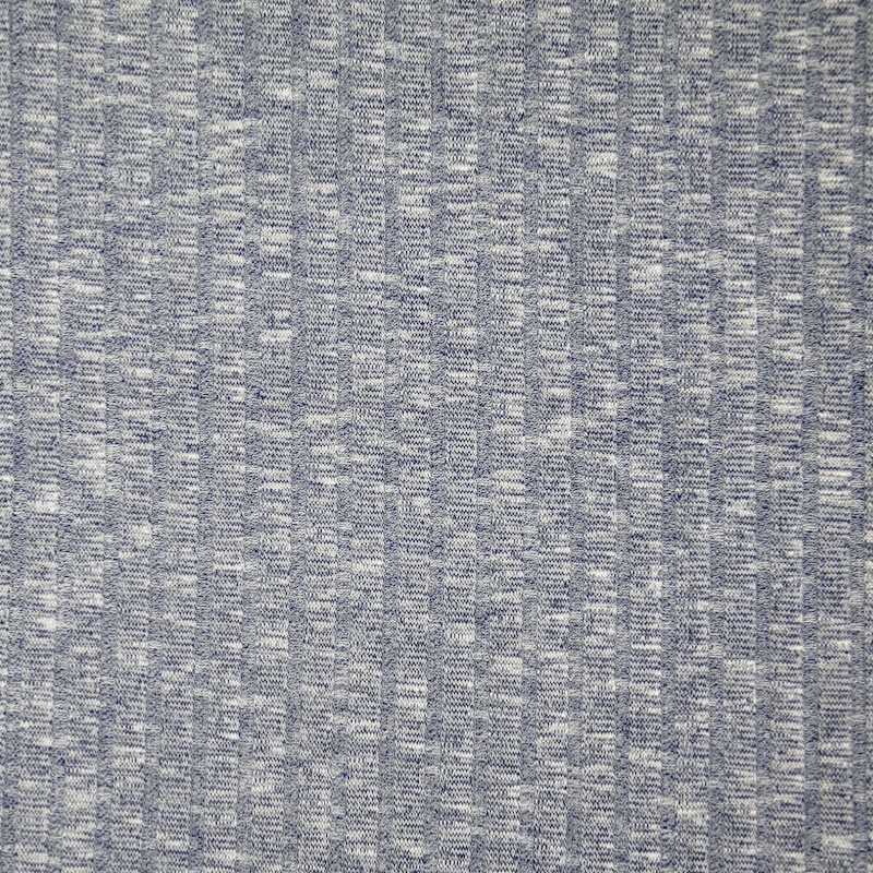 Sete Navy Melange Summer Rib Knit Fabric