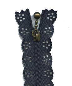 Lace Zip 20cm Length - Navy